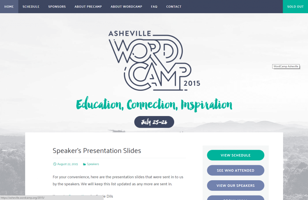 WordCamp Asheville 2015 Website
