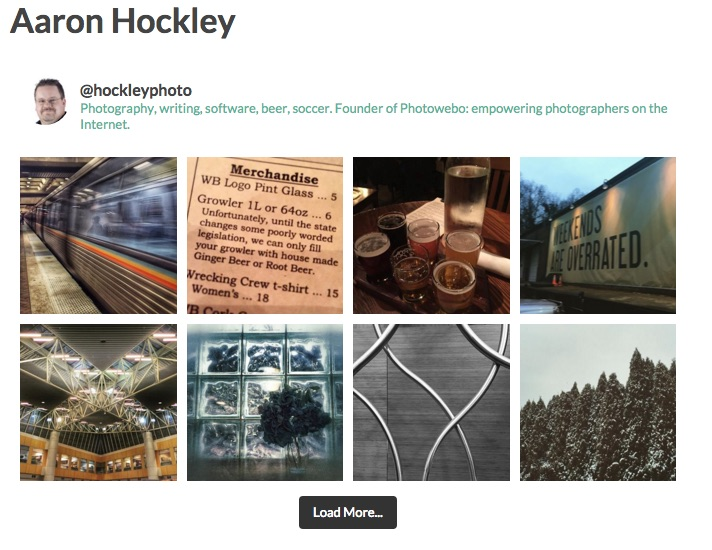 Display of Aaron Hockley's Instagram photos with the Instagram Feed shortcode set to four across.