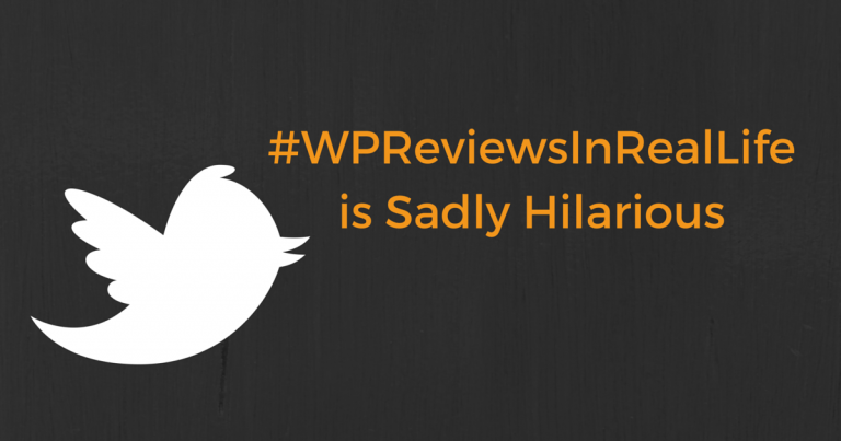 "last week: #wpreviewsinreallife. Coleman writes fictitious reviews of ""real life"" products that get 1 star ratings for seemingly random reasons -- and WordPress plugin and theme authors have never laughed so hard."