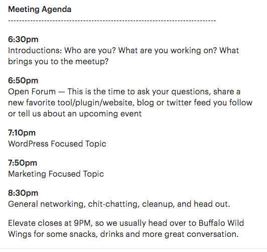 Setting up your agenda on your meetup event like Northwest Arizona is a good tip for managing expectations.