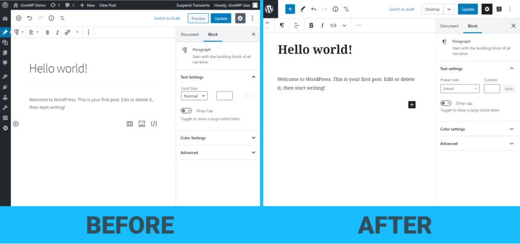 Left-hand side shows Gutenberg 7.6. Right-hand side shows Gutenberg 7.7. The enhance UI is the clear difference.
