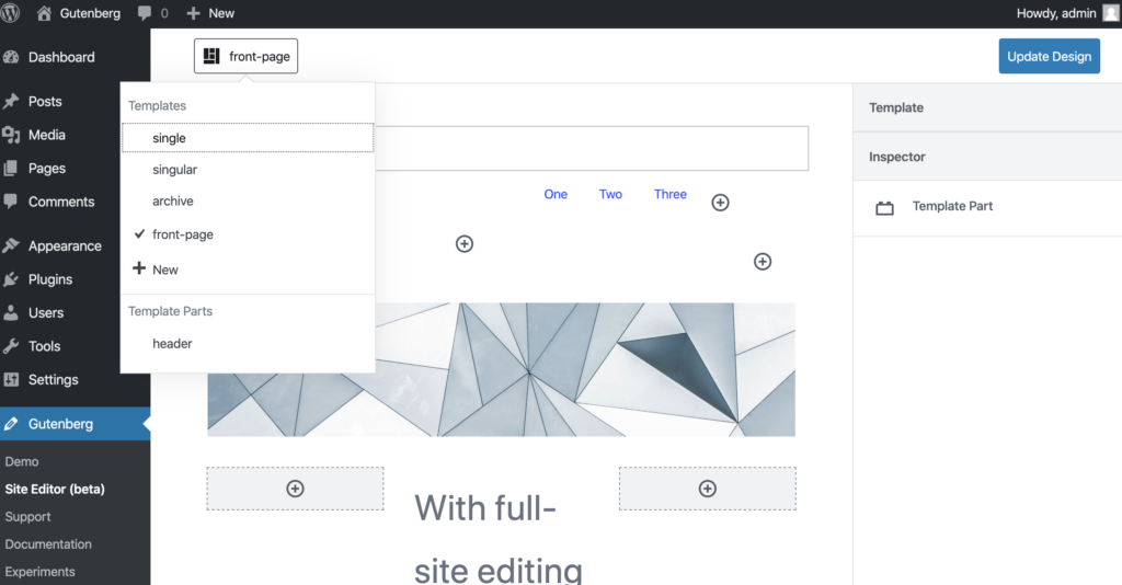 High-fidelity mock-up of the full-site editing mode. There's a button in the top-left with a dropdown to choose templates and template parts with. The body is a layout of Gutenberg blocks.