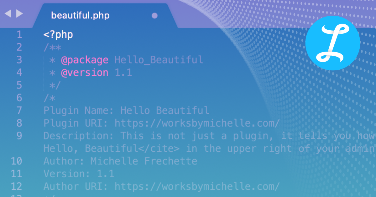 The Hello Beautiful plugin header with abstract shapes overlayed