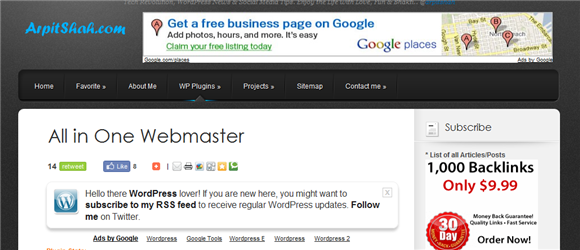 All in One Webmaster Tools for WordPress